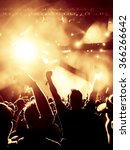 silhouettes of concert crowd in ... | Shutterstock . vector #366266642