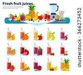 Fruit Juices Vector Flat...