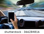 man using cell phone while... | Shutterstock . vector #366284816