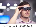 young man using virtual reality ... | Shutterstock . vector #366292412