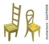 vector cartoon wood chairs... | Shutterstock .eps vector #366294008
