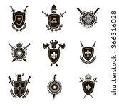 vector set black heraldic signs ... | Shutterstock .eps vector #366316028