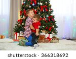 two cute small brothers hugging ... | Shutterstock . vector #366318692