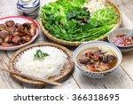 bun cha  grilled pork rice... | Shutterstock . vector #366318695