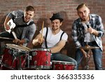 musicians playing the drums on... | Shutterstock . vector #366335336