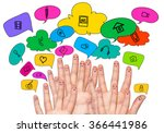 many fingers with faces drawn... | Shutterstock . vector #366441986