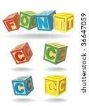 alphabet on a cubes. c.   Shutterstock .eps vector #36647059