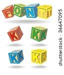 alphabet on a cubes. k. | Shutterstock .eps vector #36647095