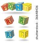 alphabet on a cubes. r.   Shutterstock .eps vector #36648436
