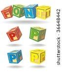 alphabet on a cubes. p.   Shutterstock .eps vector #36648442