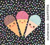 Card Design With Three Kawaii...