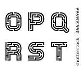 vector real maze alphabet font... | Shutterstock .eps vector #366506966