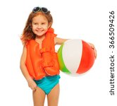 Happy Girl In Lifejacket With...