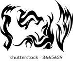 wild tattoo group vector... | Shutterstock .eps vector #3665629