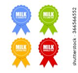 Milk Icons Or Rosettes With...