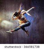 young hip hop dancer jumping | Shutterstock . vector #366581738
