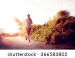 beautiful girl running outdoors ... | Shutterstock . vector #366583802
