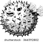 blowfish  vector illustration ... | Shutterstock .eps vector #366592802