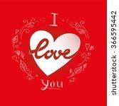 white heart on red background... | Shutterstock .eps vector #366595442