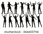 vector dancing girl silhouettes.... | Shutterstock .eps vector #366603746