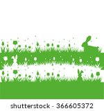 easter meadow with 3 bunnies | Shutterstock .eps vector #366605372