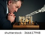 a man playing chess with a... | Shutterstock . vector #366617948