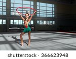 beautiful gymnast holds the... | Shutterstock . vector #366623948
