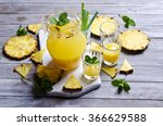 pineapple cocktail with pulp in ... | Shutterstock . vector #366629588