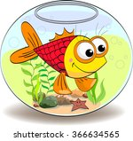 cartoon fish in the aquarium ... | Shutterstock .eps vector #366634565