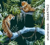 Watercolor Tropical Leopard...