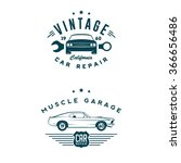 car service labels and emblems | Shutterstock .eps vector #366656486