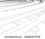 curved endless train track.... | Shutterstock . vector #366661946