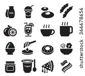 breakfast icons set1 | Shutterstock .eps vector #366678656