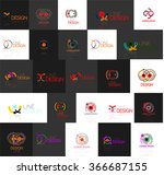 set of linear abstract logos.... | Shutterstock .eps vector #366687155