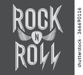 rock and roll music emblems ... | Shutterstock .eps vector #366690116