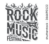 rock and roll music emblems ... | Shutterstock .eps vector #366690122
