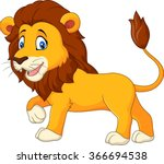 cute lion walking isolated on... | Shutterstock .eps vector #366694538