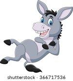 Cartoon Happy Donkey Isolated...