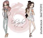 cute fashion cartoon girls in... | Shutterstock .eps vector #366735392