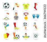 set of sixteen colored football ... | Shutterstock .eps vector #366744122