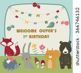 birthday card with cute... | Shutterstock .eps vector #366746132