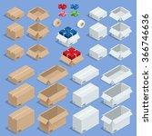 set of isometric cardboard... | Shutterstock .eps vector #366746636