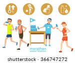 marathon icons water station.... | Shutterstock .eps vector #366747272