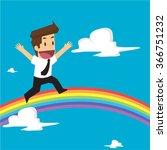 businessman running on rainbow... | Shutterstock .eps vector #366751232