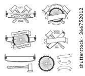 woodwork label set with saw  ax ... | Shutterstock .eps vector #366752012