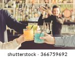 three friends are toasting with ... | Shutterstock . vector #366759692