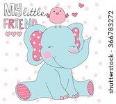 elephant and bird vector... | Shutterstock .eps vector #366783272