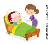 mother taking the temperature...   Shutterstock .eps vector #366804125