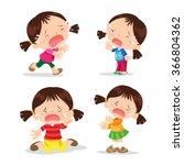 vector of cute girl cartoon...   Shutterstock .eps vector #366804362