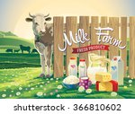 set of milk products from farm... | Shutterstock .eps vector #366810602